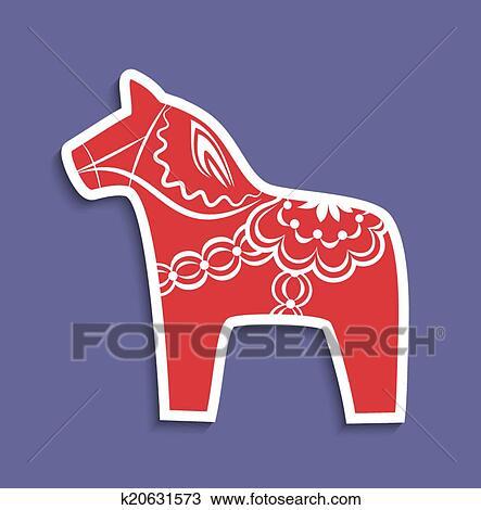 Schwedische traditionelle muster  Clipart - traditionelle, dala, pferd, von, schweden k20631573 ...