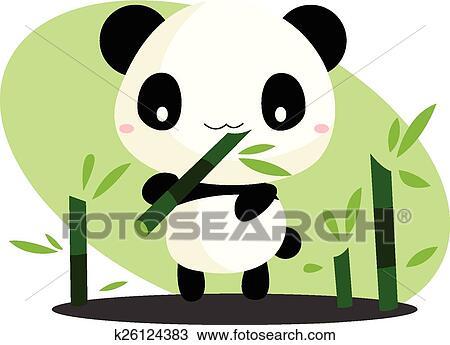 卡通熊猫竹子图片