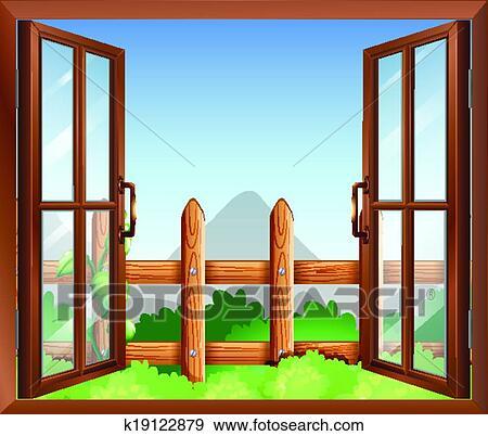 clip art of a window with a view of the backyard k19122879 search rh fotosearch com backyard clipart free backyard garden clipart