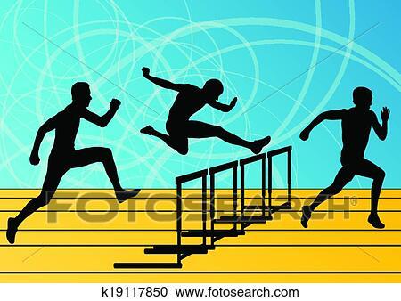 攝影圖像及影片剪輯素材庫剪圖Clipart - 活躍, 人, 運動, 体育運動, 欄架, 障礙物, 跑, 黑色半面畫像, 插圖, 彙整, 背景, 矢量