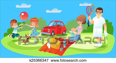 Clip Art of Family picnic, father, mother and children car ...