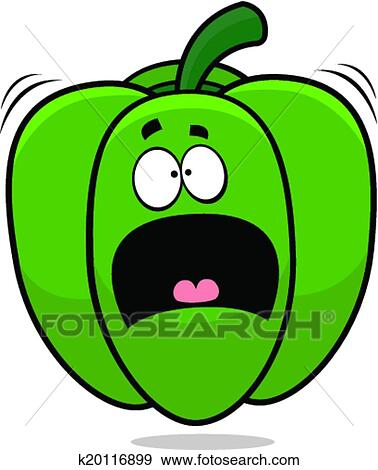 clip art of scared cartoon bell pepper k20116899 search clipart rh fotosearch com scared clipart boy scary clip art free