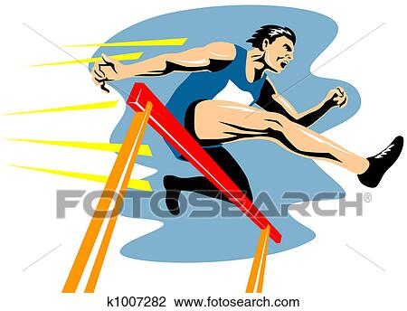 Clip Art of Jumping hurdles k1007282 - Search Clipart ...