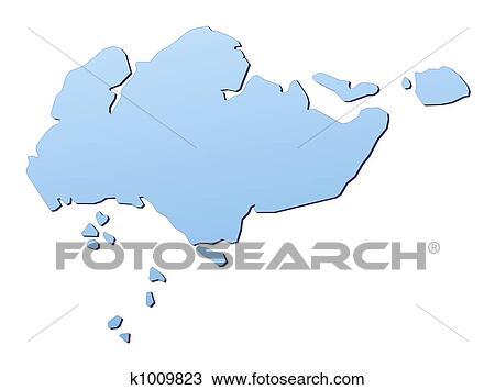 手绘图 - 新加坡, 地图