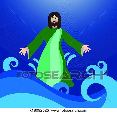 Clipart ges camminare su il acqua k18092525 cerca - Libero clipart storie della bibbia ...