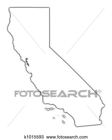 Drawing of California USA map k1015593 Search Clipart
