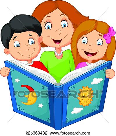 clipart of cartoon mother reading with his chi k25369432 search rh fotosearch com mother clipart images mother's day clipart images