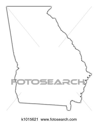 Clipart of Georgia (USA) outline map k1015621 - Search Clip Art ...