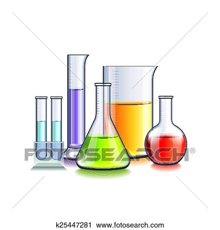 Clipart of Laboratory glassware isolated on white vector ...