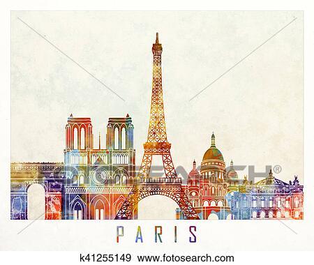 Stock Illustration Of Paris Landmarks Watercolor Poster K41255149