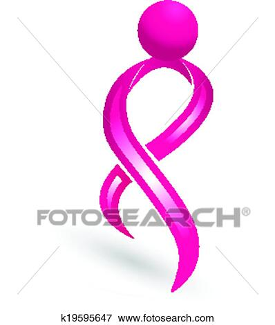 clip art of breast cancer logo awareness ribbon k19595647 search rh fotosearch com breast cancer awareness clip art breast cancer awareness clip art