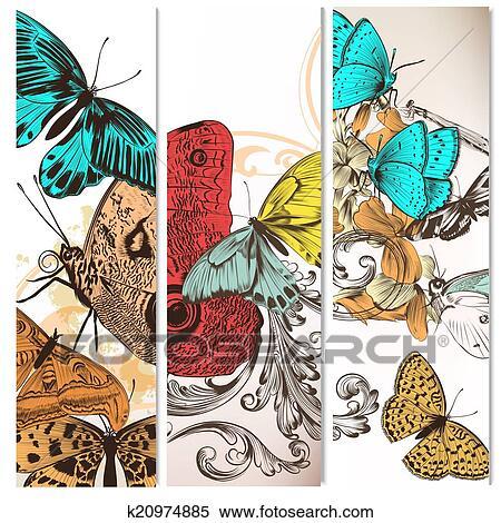Archivio illustrazioni futuristico sfondi set con for Sfondi con farfalle