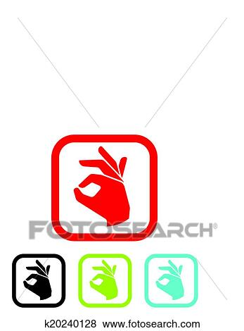 Clip Art of human okay hand sign k20240128 - Search Clipart ...
