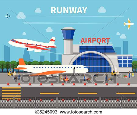 Clipart Of Airport Runway Illustration K35245093 Search