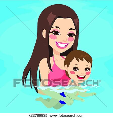 Clipart Of Mom Teaching Baby Boy Swimming K22789835
