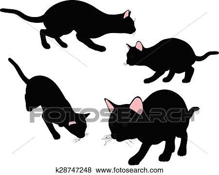 剪贴画猫侧面影象在中高视阔步形成.图片