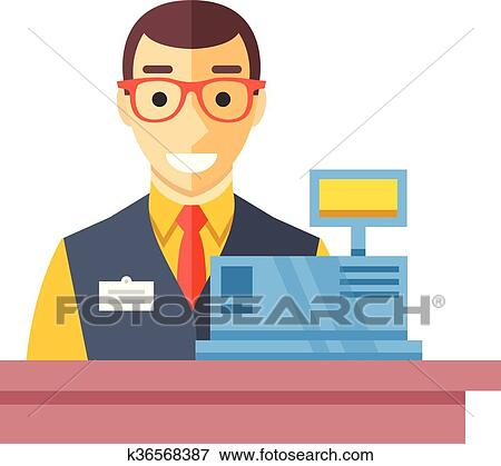 Clip Art of Cashier man at checkout counter k36568387 ...