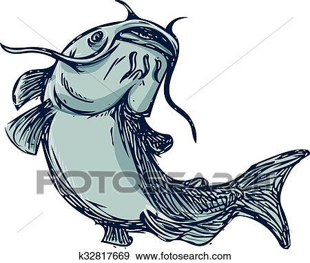 clip art of catfish mud cat jumping up drawing k32817669 search rh fotosearch com cartoon catfish clipart catfish clip art 450 x 150 pixels