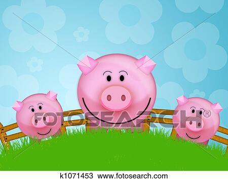 手绘图 - 猪