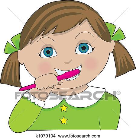 Stock Illustrations of Girl Brushing her Teeth u12301600 - Search ...