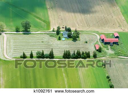 Stock Photography Of Aerial View Of Farming House With Red