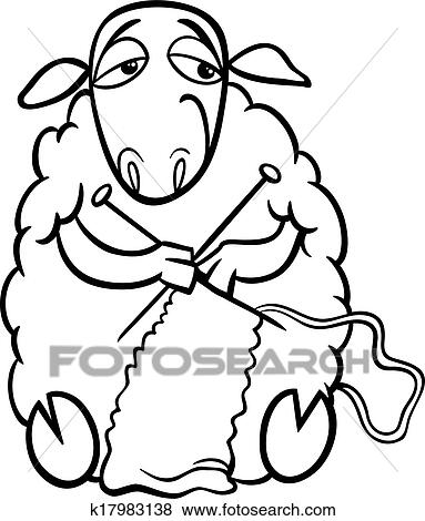 clip art knitting sheep coloring page fotosearch search clipart illustration posters - Sheep Coloring Page
