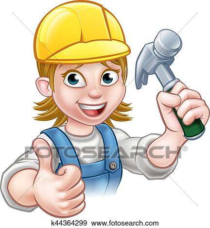 clip art of woman carpenter holding hammer k44364299 search rh fotosearch com carpenter clip art images carpenter clip art images