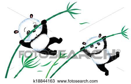 手绘图 - 跳跃, 熊猫,