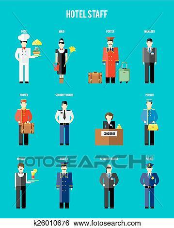 Clip Art Of Vector Hotel Staff K26010676