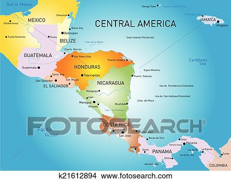 Clipart of central america map k21612894 Search Clip Art