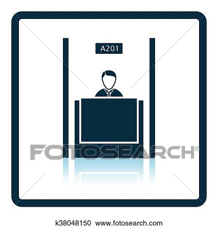 clipart of bank clerk icon k38048150 search clip art illustration rh fotosearch com