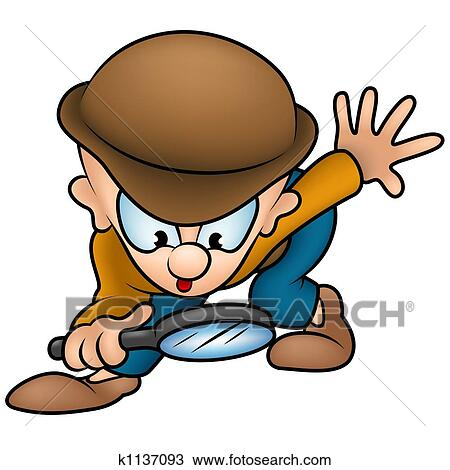 drawing detective fotosearch search clipart illustration fine art prints and