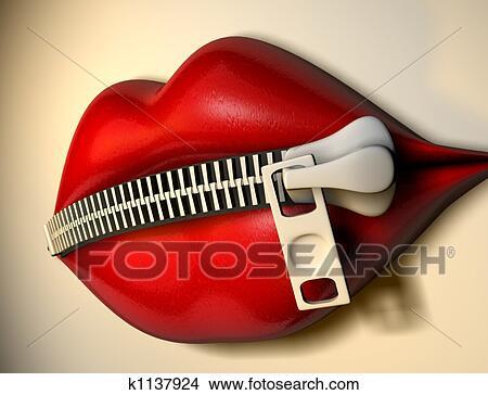 手绘图 - 哑, 嘴唇, 1
