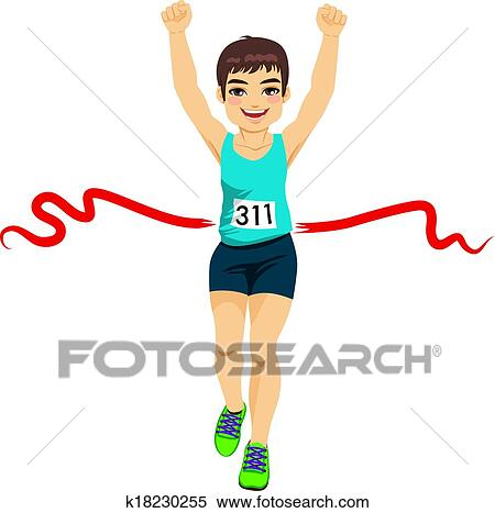 Clipart of Man Crossing Finish Line k18230255 - Search Clip Art ...