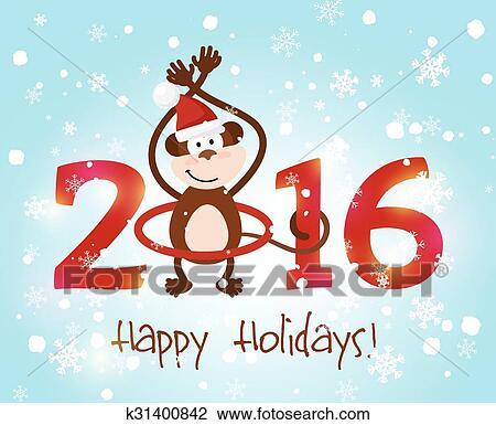 剪贴画 - 高兴的新年, 2016图片