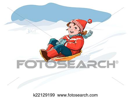 clip art of kid sledge snow winter vacation k22129199 search rh fotosearch com winter holiday clipart free winter holiday clipart
