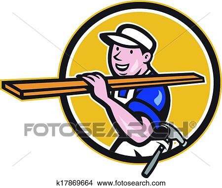 clipart of carpenter worker carrying timber circle cartoon k17869664 rh fotosearch com carpenter clipart black and white carpenter clipart black and white