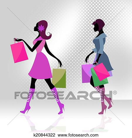剪贴画 - 购物者, 妇女