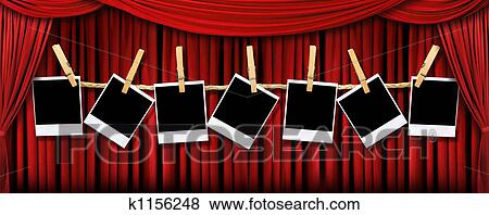 Pictures Of Red Draped Theater Stage Curtains With Light