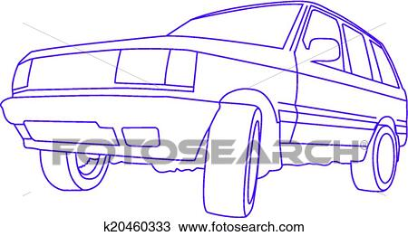 Clipart Of Suv Outline Search Clip Art Illustration