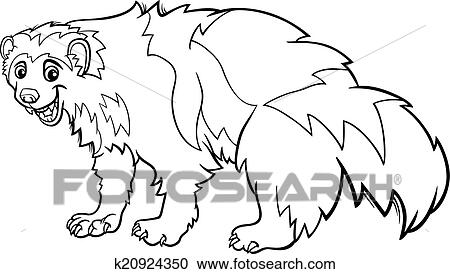 Clipart Of Wolverine Animal Cartoon Coloring Page K20924350