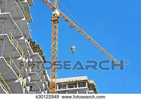 举起, 发展, 向上, 商业, 垂直, 塔, 塔式起重机, 大梁, 天空, 容器图片