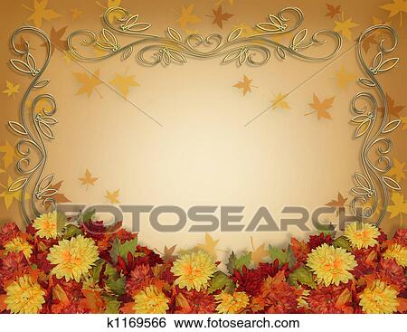 Fall Border Illustrations Thanksgiving Fall Border