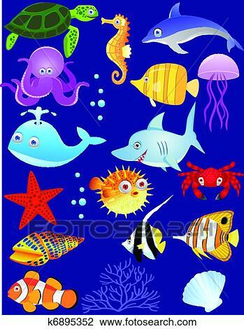 Clip Art of Sea life cartoon k6895352 - Search Clipart ...