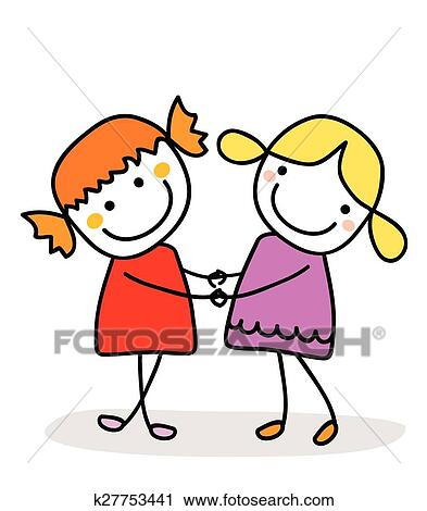 clipart of best friends k27753441 search clip art illustration rh fotosearch com best friend clip art images best friends clip art free