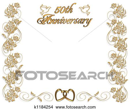 Drawing 50th Wedding Anniversary Fotosearch Search Clip Art Ilrations Wall Posters