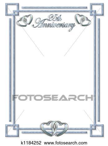 Clip Art of 25th Anniversary border k1184252 - Search Clipart ...