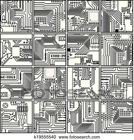 Clipart of Abstract computer circuit board pattern - vector seamless ...