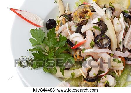 Салат мидии креветки фото