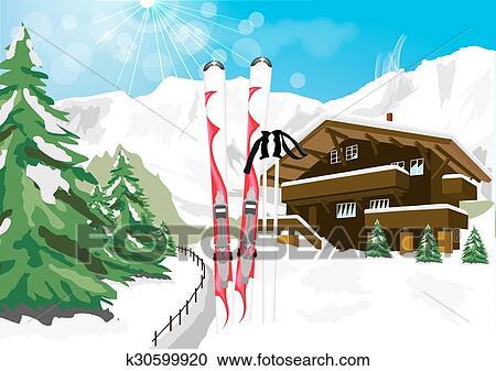 Clipart hiver paysage neige skis fait ski poteaux - Dessin de chalet de montagne ...